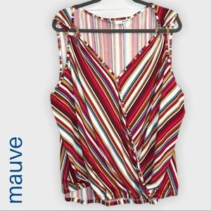 NWT Multicolor striped faux wrap sleeveless blouse